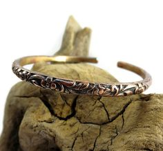 Copper Bangle Bracelet - Adjustable - Hand Forged Copper Bracelet - Boho cuff - Flower bracelet - Bohemian Stacking Bracelets