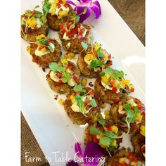 Crab cakes with mango salsa and red pepper aioli #appetizers #farmtotablecatering #yummystuff | Farm to Table Catering | Nevada City, Ca | www.farm2tablecatering.com