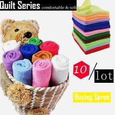 10pcs/Lot Multicolor Soft Fiber Cotton Face Towel Brand Luxury 25*25cm Square Face Hand Towel For House Cleaning