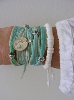 beachcomber yoga by the sea hand dyed silk wrap bracelet mint aqua by beachcombershop