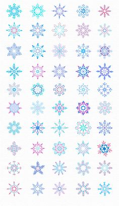 50 Watercolor Snowlakes by Elena Neculae on @creativemarket