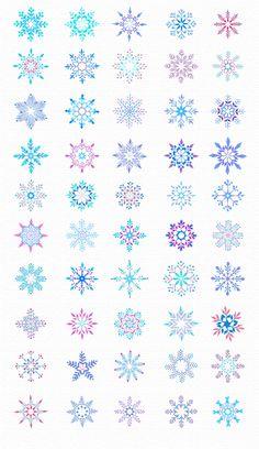 50 Watercolor Snowlakes by desenart on Creative Market