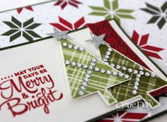 Use up the long rows of rhinestones as decorations on your trees. Lines up great with the plaid on the trees in Stampin Up Lots of Joy. Claire Daly