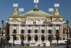 Palais Garnier  exterior front facade with names of statues. http://en.wikipedia.org/wiki/Palais_Garnier
