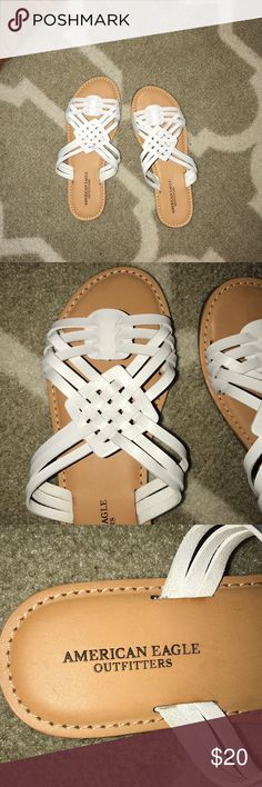 742761e9ca2db White design sandals Size 7 white slide on flip flops! Never worn before  American Eagle Outfitters Shoes Sandals