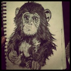 Second drawing with charcoal #monkey #drawing