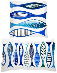 Margaret Berg Art: Simple Fishies (Blue) Pillow - Pin This Blue Pillows, Throw Pillows, Marine Style, Sea Art, Fish Print, Fish Design, Coastal Art, Ceramic Fish, Zentangle