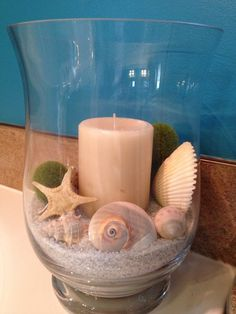 Beach crafts, beach house decor, diy home decor, nautical theme, beach them Seashell Bathroom Decor, Seashell Art, Seashell Crafts, Beach Crafts, Diy Crafts, Bathroom Ideas, Simple Bathroom, Bathroom Renovations, Bathroom Storage
