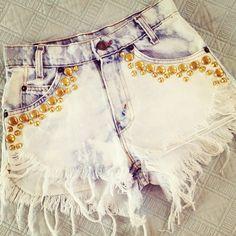 Acid wash shorts with gold studs LOVE diy inspiration
