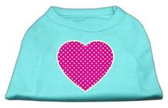 Mirage cat Products Pink Swiss Dot Heart Screen Print Shirt, 3X-Large, Aqua *** Remarkable product available now. : Cat Apparel