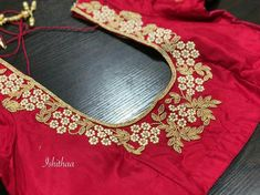 Embroidery blouse pearl 53 ideas for 2019 Wedding Saree Blouse Designs, Pattu Saree Blouse Designs, Blouse Designs Silk, Blouse Patterns, Kids Blouse Designs, Latest Blouse Designs, Dress Designs, Flower Designs, Maggam Work Designs
