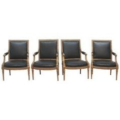Louis XVI Style Carved and Gilded Fauteuils, Two Pairs