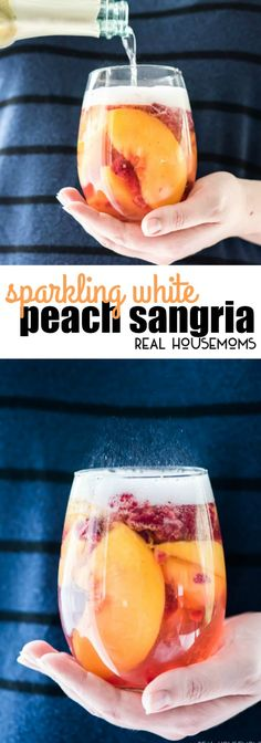 Sparkling White Peach Sangria is a great make ahead brunch or summer cocktail that tastes fantastic! via Real Housemoms