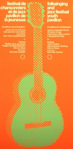 Folk Singing and Jazz Festival, 1967 - original vintage poster by Raymond Bellemare listed on AntikBar.co.uk