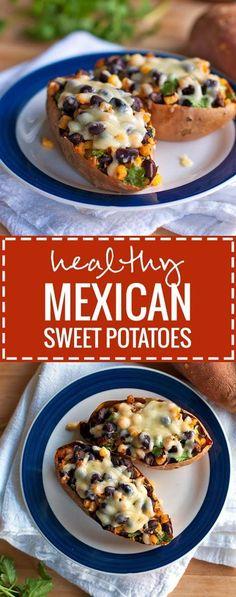 Healthy Mexican Sweet Potato Skins | http://pinchofyum.com