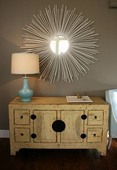Sunburst mirror diy - might look interesting with twigs