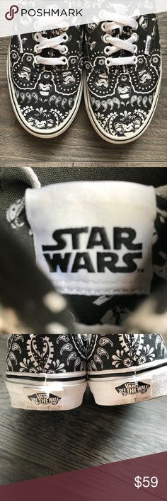 Star Wars Edition Vans May the force be with you! Size 7 Men's and Size 8.5 Women's . Unisex shoe. Black and white. Paisley pattern with star wars icons Vans Shoes Sneakers