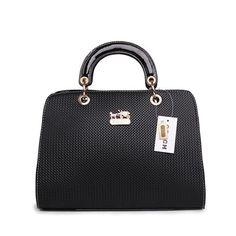 Look Here! Coach Fashion Signature Medium Black Satchels BSG Outlet Online