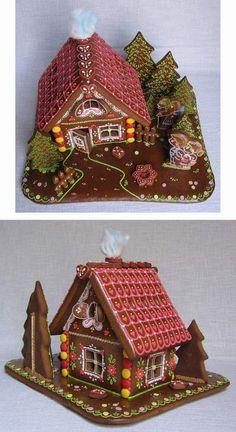 perníková chaloupka - z jiných pohledů - Love the way the trees are layered and the red roof Gingerbread House Designs, Gingerbread House Parties, Gingerbread Village, Gingerbread Decorations, Christmas Gingerbread House, Gingerbread Cake, Christmas Goodies, Christmas Time, Christmas Crafts