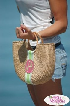 Monogrammed bag. So cute for summer! I love this so much!