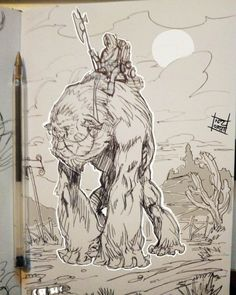 Sketchbook creatures. Mount variations. A giant primate? Would be better if the rider had a good bond with it, that's for sure. #rpg #dnd #gorilla #primate #mount #dungeonsanddragons #fantasy #art #drawing #illustration #sketch #sketchbook...