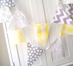NURSERY RHYME THEME---pink, white, blue, yellow, cow print (cow jump over moon)--5 Feet Banner Bunting 11 Pennant Flags by vintagegreenlimited, $17.00