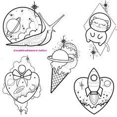 Snail Tattoo, Alien Tattoo, Doodle Tattoo, Tattoo Outline Drawing, Tattoo Drawings, Tattoo Art, Hard Drawings, Cute Tattoos, Body Art Tattoos