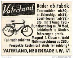 Original-Werbung/ Anzeige 1956 - VATERLAND FAHRRÄDER / NEUENRADE - ca 45 x 40 mm