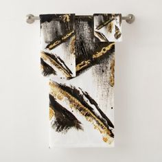 Modern black gold foil acrylic paint brushstrokes bath towel set - girly gifts girls gift ideas unique special