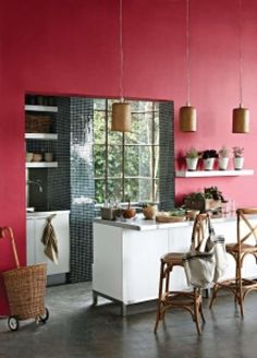 This winter, don't be afraid of the dark when it comes to interior trends, says the Plascon Colour Advice team. As the days get shorter and This winter, don't be afraid of the dark when it comes to interior trends, says the Plascon Colour Advice team. Red Kitchen, Kitchen Paint, Kitchen Interior, Plascon Colours, Red Walls, Floor Finishes, Color Inspiration, Kitchen Remodel, Interior Design