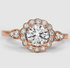 Pretty floral diamond rose gold ring.
