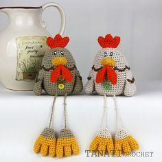 """Crochet pattern - decorative toy Chicken Easter.  SKILL LEVEL: INTERMEDIATE Size: 14 cm (5,5"""")  Material:  •4 different colors yarn; •crochet hook, scissors and needle with the round end,..."""