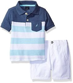 d5354241cad62 Nautica Baby Boys Stripe Polo with Pull on Short Set Ink 18 Months