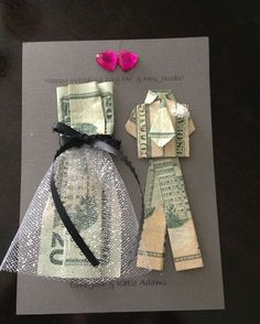 Origami dress, craft gifts, diy gifts, diy wedding gifts, money gift we Wedding Gifts For Bride And Groom, Diy Wedding Gifts, Wedding Gifts For Couples, Bride Gifts, Trendy Wedding, Money Gift Wedding, Gift Money, Wedding Favors, Wedding Card