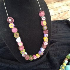 """26"""" Wool Felt Ball Necklace, Multi Colored, Strung on Pale Green Hemp Cord"""