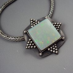 Square Australian Opal Pendant on Vintage Silver Chain by Dana Evans.