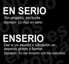 «En serio» y «enserio» Spanish Grammar, Spanish Vocabulary, Spanish Language Learning, Teaching Spanish, Spanish Notes, Spanish Lessons, New Words, Cool Words, Writer Tips