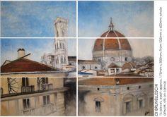 DI BRUNELLESCHI, oils on canvas, 6 jigsaw pieces, approx. 175mm x 300mm each, makes a whole artwork from 525mm x 600mm; £150 ORDER NOW! www.ondecorinteriordesign.co.uk