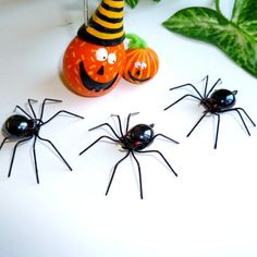 Three Small Hanging Black Spiders Handmade by SpiderwoodHollow, $12.00