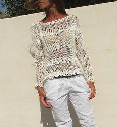 weißer Pullover / weißer Baumwolle mix lose stricken / Sommer Pullover