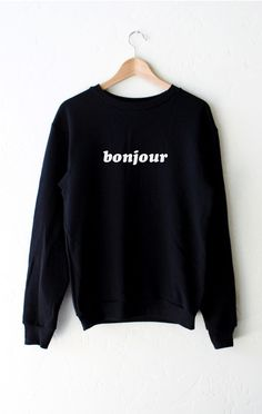 "- Description Details: 'Bonjour' oversized sweater in black. Brand: NYCT Clothing. Unisex/Oversized fit Measurements: (Size Guide) XS/S: 40"" bust, 27"" length, 25"" sleeve length M/L: 47"" bust, 28"" leng"