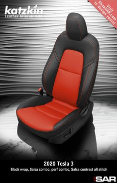 - This is a 2020 Tesla 3 seat with Black wrap, Salsa combo, perf combo, Salsa contrast all stitch. Leather Kits, Custom Leather, Real Leather, Automotive Upholstery, Car Upholstery, Camo Gear, Leather Seat Covers, Popular Colors, Leather Interior