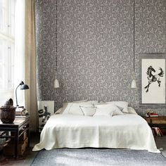 Grey floral bedroom wallpaper pendant lights white bedlinen