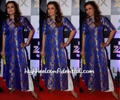 Mini Mathur In Payal Khandwala At Zee Cine Awards 2016 in blue brocade salwar suit with white palazzo pants Indian Attire, Indian Wear, Indian Outfits, Mini Mathur, Payal Khandwala, Kurta Patterns, Indian Bridal Lehenga, Fashion Sewing, Women's Fashion