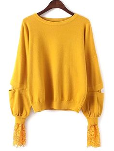 $20.36 Lantern Sleeve Lace Spliced Loose Sweater