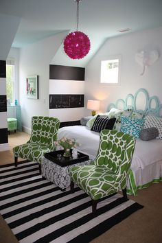 black and white chalkboard striped walls, colors, patterns... love it! This is definitely a bedroom I need! I can't wait to start renovating my bedroom!