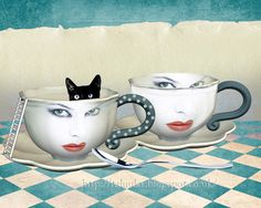 HALF FULL Morning Coffe, Tea Time, Mugs, Tableware, Invite, Kittens, Ann, Illustrations, Collections