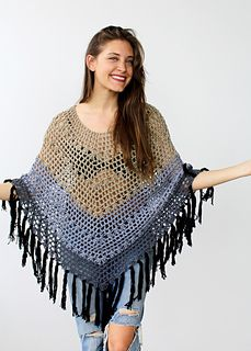 Ombre Canyon Poncho By Alexandra Tavel - Free Crochet Pattern - (ravelry) Crochet Poncho Patterns, Crochet Shawls And Wraps, Crochet Cardigan, Crochet Scarves, Crochet Clothes, Knitting Patterns, Poncho Sweater, Free Knitting, Crochet Poncho With Sleeves