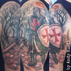 Knights Templar tattoo I finished up last week. We'll be adding more at a later date.