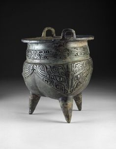 Ritual food vessel, or li ding, with taotie masks. Bronze ritual vessels were probably first manufactured in China during the early part of the Shang Dynasty (1600 BC–1050 BC), and this continued, with various changes in shapes and decoration until the end of the Eastern Zhou period in the third century BC. The earliest bronzes were decorated with narrow horizontal bands, with swirling ornamental lines centred on a pair of prominent eyes.